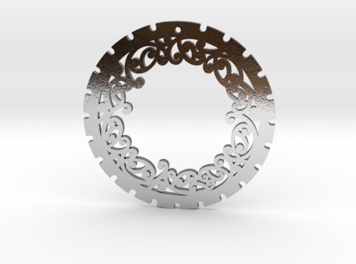 Simple 'Kowhaiwhai' Disc Earring ~ 33mm diameter 3d printed