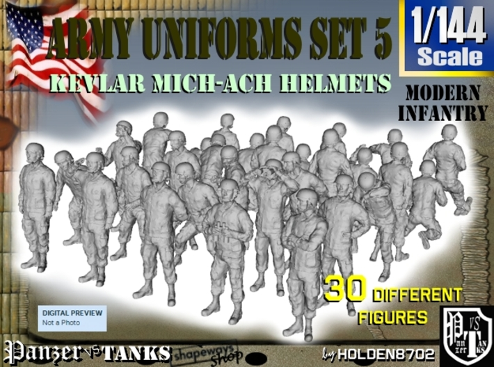 1-144 Army Modern Uniforms Set5 3d printed
