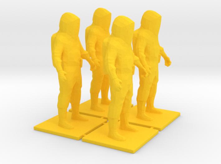 4 Level A Hazmat Technicians, 1/64 3d printed