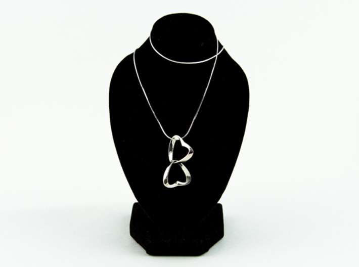 Joined Together - Interlocking Hearts Pendant 3d printed the new interlocking polished Silver
