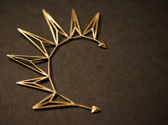 Brass triangles earcuff 3d printed