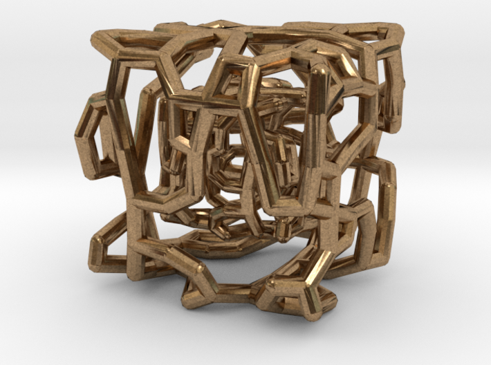 Organic caged cube pendant 3d printed