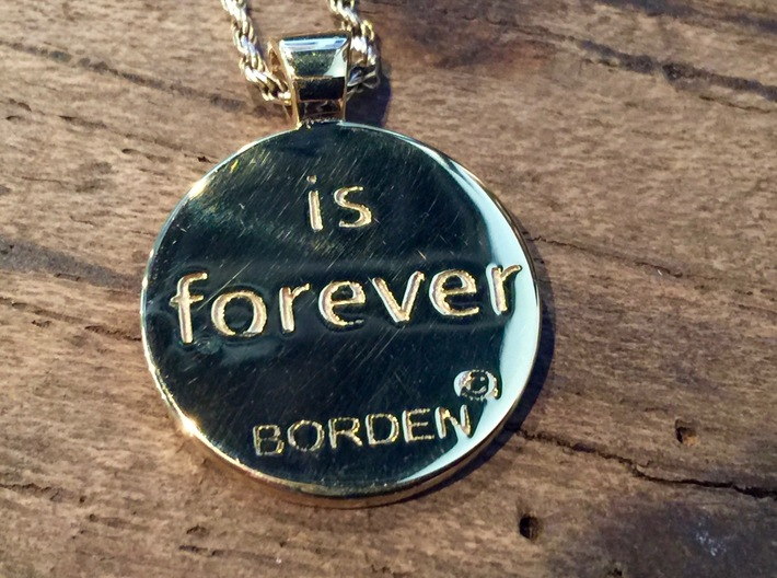 Love is Forever, pendant 3d printed closeup back