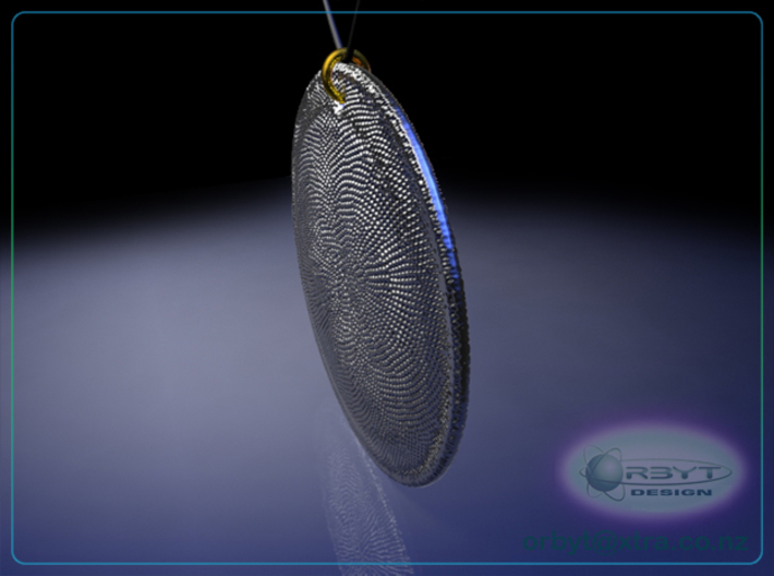 C. Asteromphalus (Ehrenberg) Diatom pendant ~ 39mm 3d printed Asteromphalus Diatom pendant oblique view raytrace render simulating polished silver material