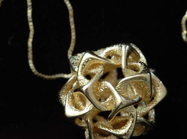 Icosahedron I, pendant 3d printed Photo of pendant in gold plated steel