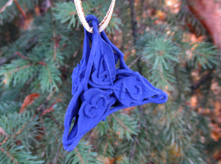 Botanical d4 Ornament 3d printed In Royal Blue Strong & Flexible Polished