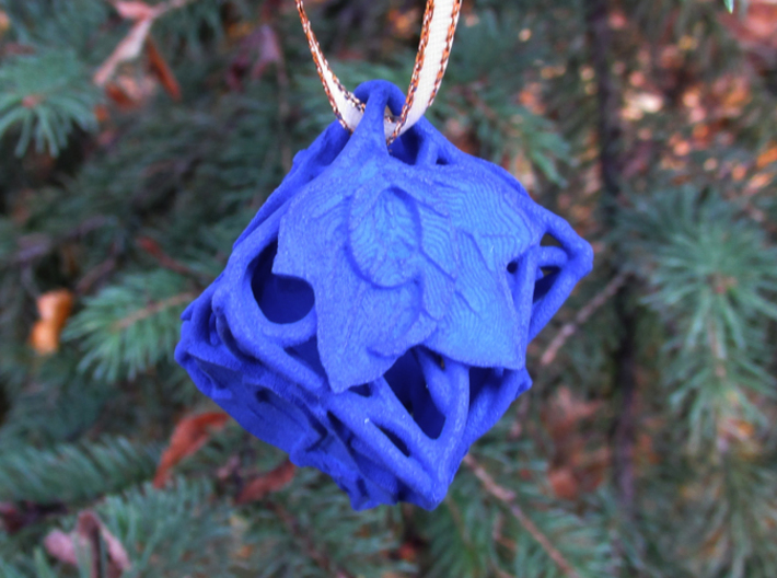 Botanical Die6 Ornament 3d printed In Royal Blue Strong & Flexible Polished