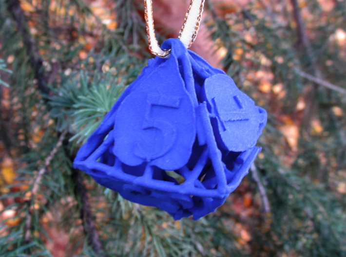 Botanical Die8 Ornament 3d printed In Royal Blue Strong & Flexible Polished