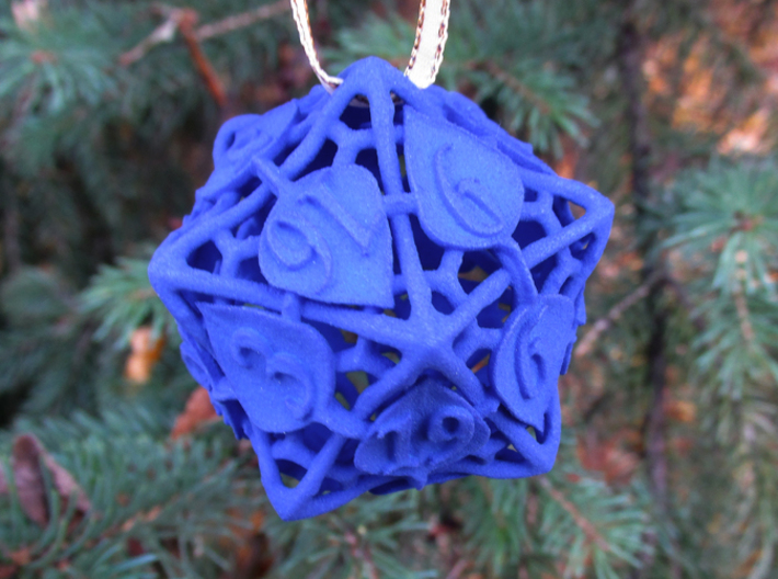 Botanical d20 Ornament 3d printed In Royal Blue Strong & Flexible Polished