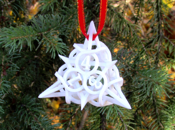 Thorn d4 Ornament 3d printed In White Strong & Flexible