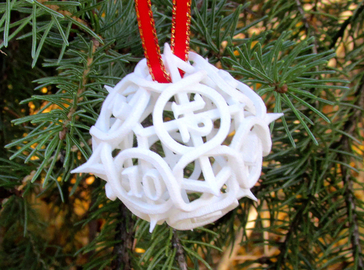 Thorn Die12 Ornament 3d printed In White Strong & Flexible