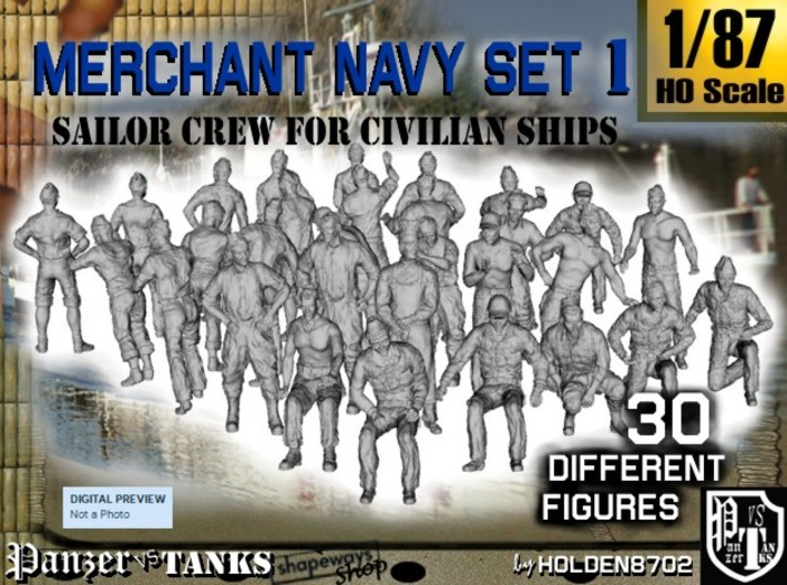 1/87 Merchant Navy Crew Set 1 3d printed