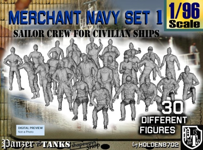 1/96 Merchant Navy Crew Set 1 3d printed