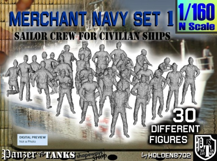 1/160 Merchant Navy Crew Set 1 3d printed