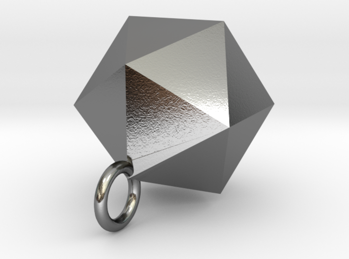Icosahedron Pendant in Silver Gold and Steel 3d printed Icosahedron Pendant in Polished Silver Solid Form (different materials have different prices)