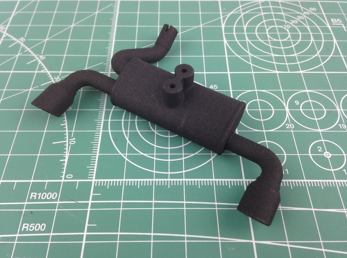 MF10001 Twin Exhaust NYLON 3d printed Parts as they come from Shapeways