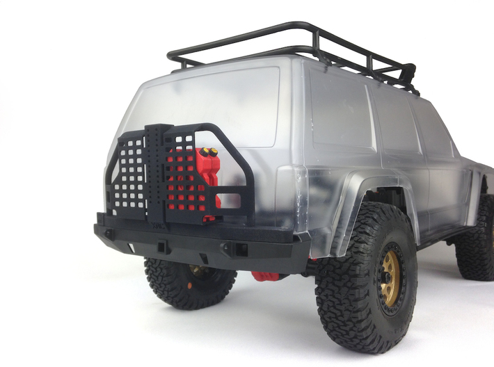 AC10001 Smittybilt XRC Atlas Tire Carrier 3d printed Shown fitted with two 2 Gallon RotopaX (sold separately)