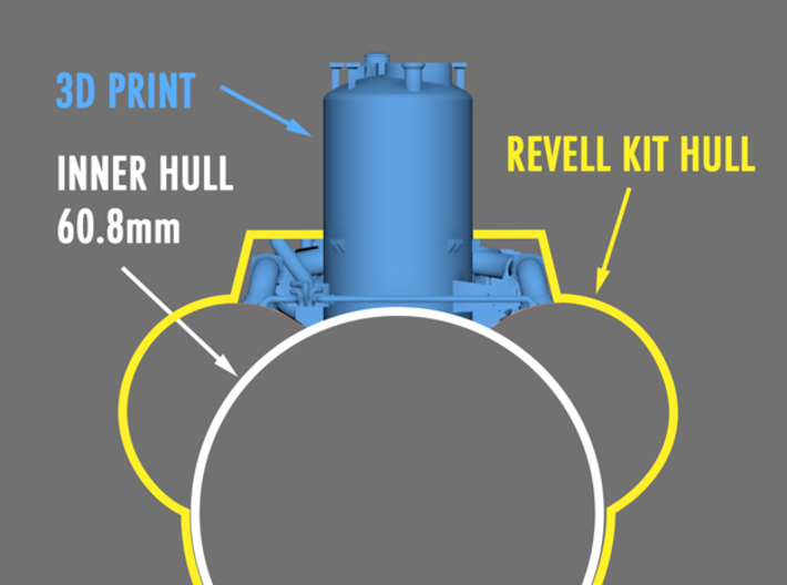 1/72 Type VIIc inner conning tower parts. 3d printed This set requires that you build a curved section of the pressure hull not include in the revell kit.  The diameter of the pressure hull at the conning tower is just over 60mm
