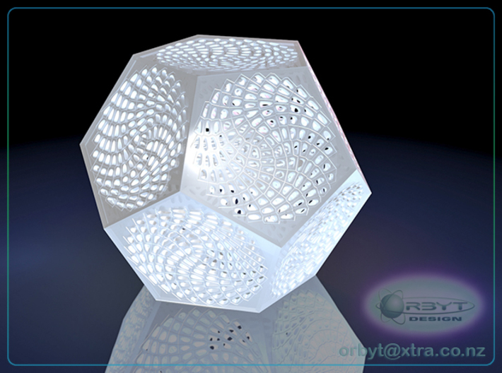 Voronoi Dodecahedron Lampshade ~ 120mm tall 3d printed Raytraced render simulating polished white strong & flexible material