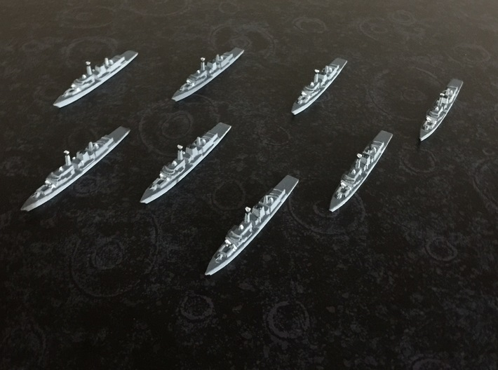 Type 23 frigate x 8, 1/1800 3d printed Painted Sample