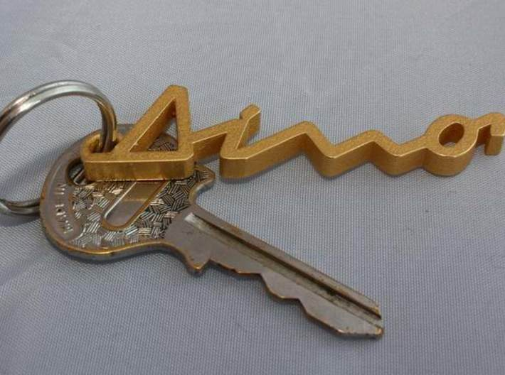 KEYCHAIN DINO 3d printed Keychain Dino with keys in Polished Gold Steel