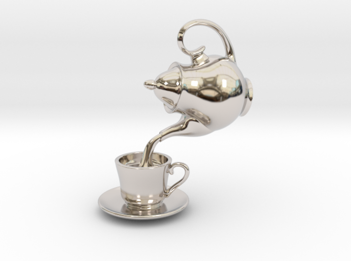 Teapot and Cup Pendant 3d printed