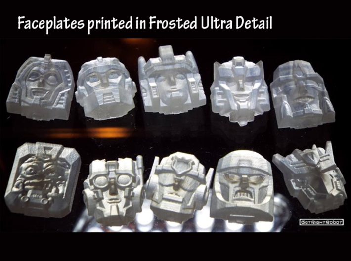 Gobots Renegade Faces Four Pack 3d printed Frosted Ultra Detail print showing Crasher and Cy-Kill with other prints