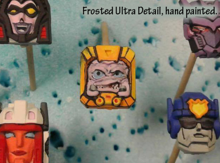 Krang Faceplate (Titan Masters) 3d printed Hand painted frosted ultra detail, shown with others