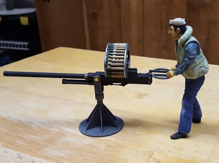 37mm M4 Cannon (multiple scales) 3d printed 1:16 scale, shown with user-made pedestal and Holden8702 figure.
