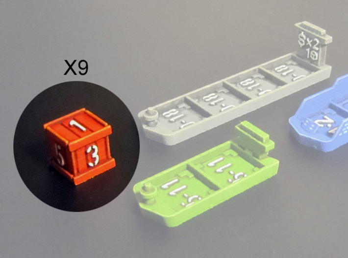 Dice / Crates (9 pcs) 3d printed Die/Crate, hand-painted.