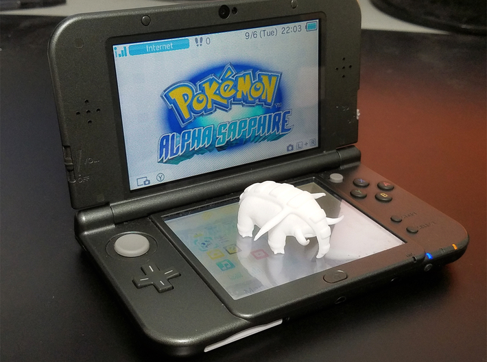 Donphan 3d printed Scale comparison to the 3Ds Xl