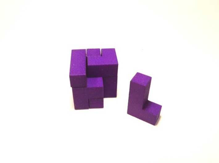 Small SOMA cube fits in the Box (a separate produc 3d printed Small SOMA cube (assembled tetrahedron 2.7x2.7x2.7 cm)