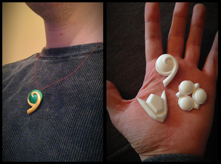 Spiritual Stones 3d printed Necklace friendly! Placed on hand for size reference.