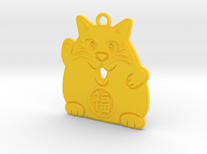 Lucky Cat Keychain 3d printed The yellow cat attracts stability.