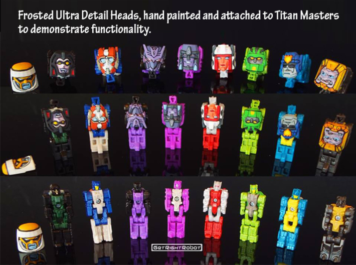 Headmonster Face 4-Pack (Titans Return) 3d printed Hand painted faceplates shown on Titanmasters to demonstrate functionality (this face not shown)