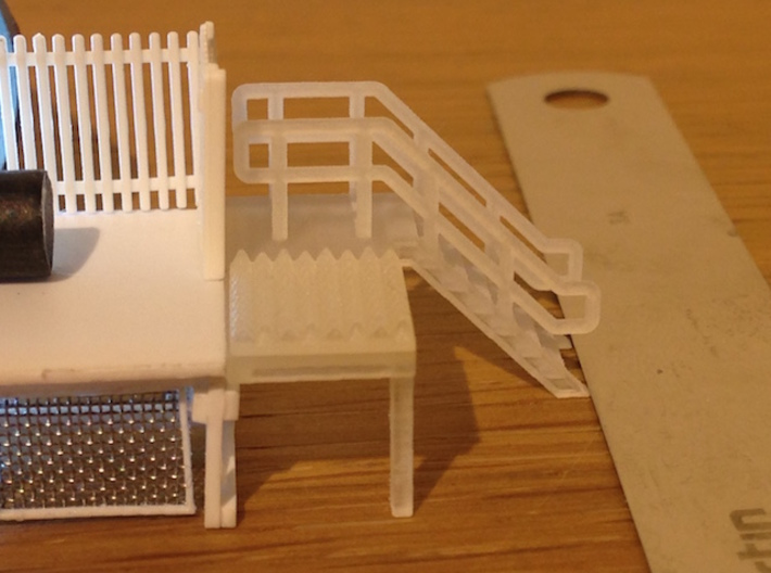 N Scale 6x Platform End Stairs 3d printed Stairs with anti-trespass panels. Thanks for the pictures Ben!