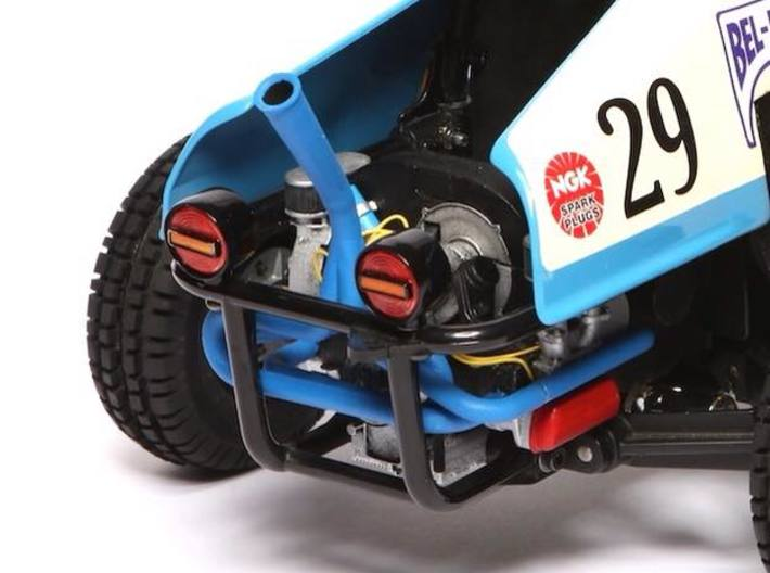 SR10009 SRB Engine - Vertical Race Exhaust 3d printed Shown fitted to a Tamiya Rough Rider, Funco Bel Ray Bullet
