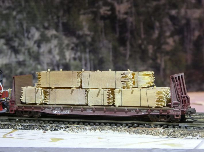 2x4 2x8 And 4x4 Lumber Load, N Scale, Flat Car 3d printed Finished model on flat car