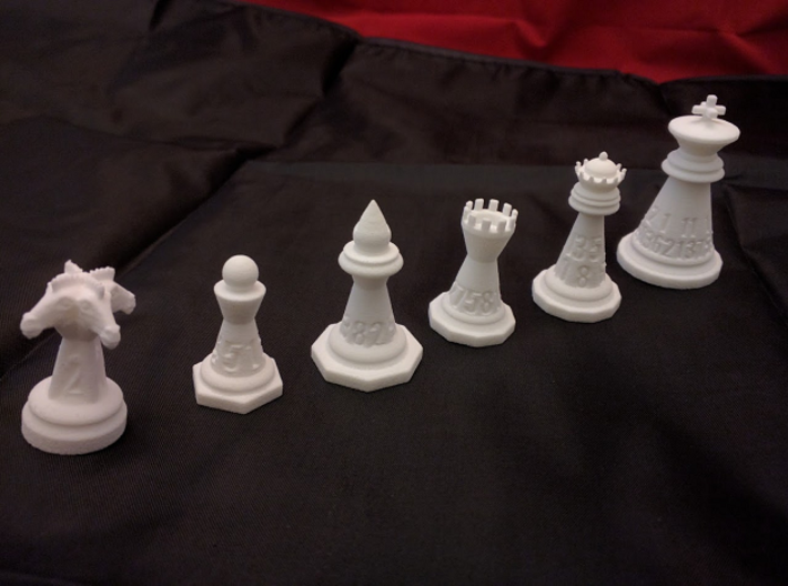 Chess shaped Dice (hollow) 3d printed 6 of 7 in WSF