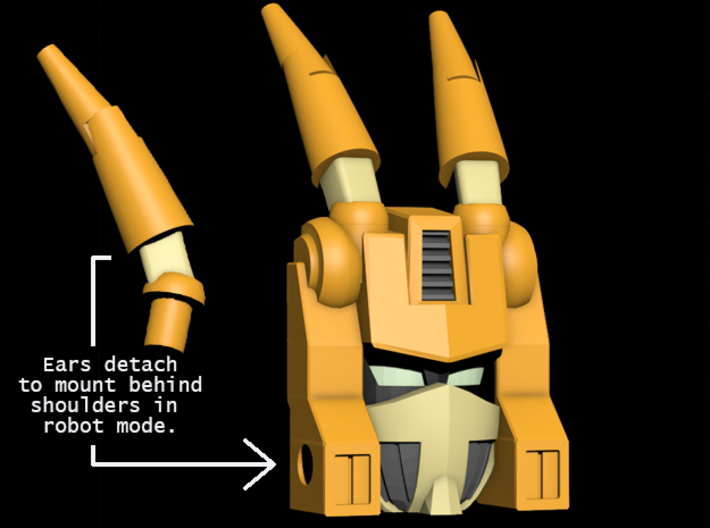 Sari Titanmaster Face (Titans Return) 3d printed Render showing ears in place.