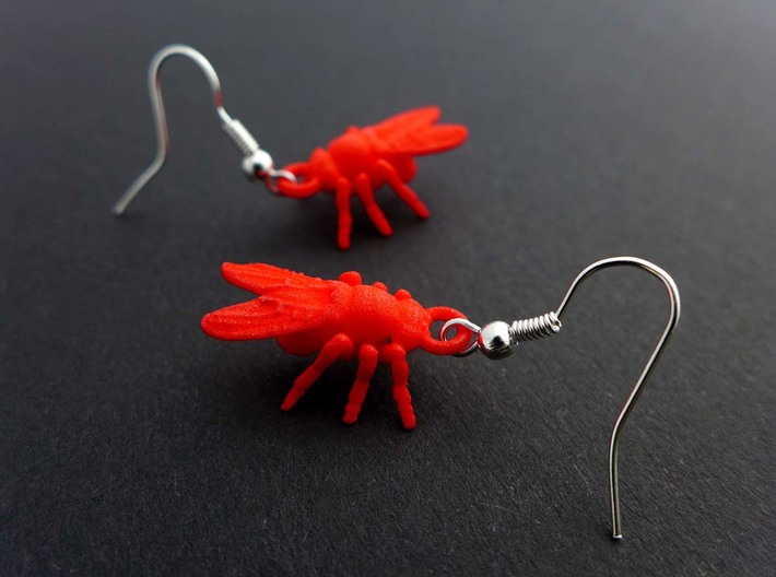 Drosophila Fruit Fly Earrings  3d printed Fruit fly earrings in red