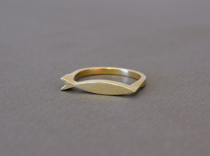 Fish Ring 3d printed Raw Brass