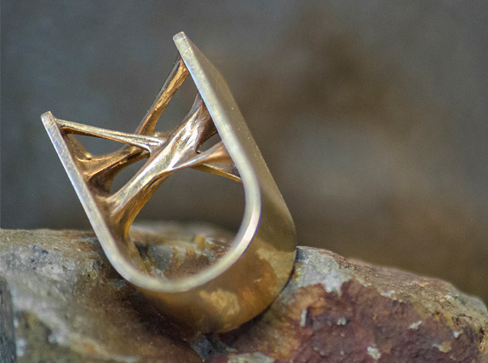 Synapse Ring 3d printed Synapse Ring in Polished Bronze