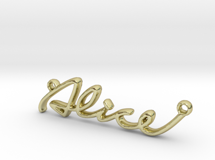 ALICE Script First Name Pendant 3d printed