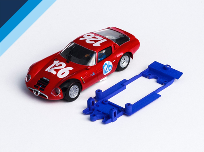 1/32 Fly Alfa Romeo TZ2 Chassis for Slot.it pod 3d printed Chassis compatible with Fly Alfa Romeo TZ2 body (not included)