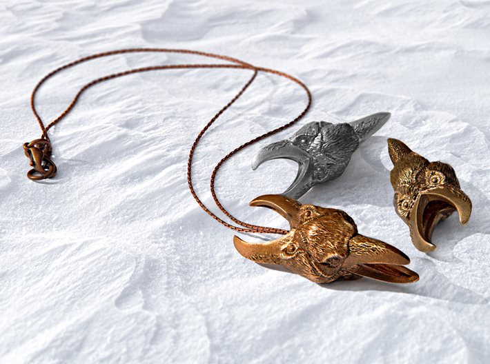 The Wisdom of the Raven - Fantasy Necklace 3d printed The Wisdom of the Raven shown in bronze, brass, and silver.