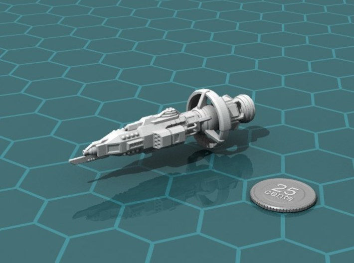 Buru Battleship 3d printed Render of the model, with a virtual quarter for scale.