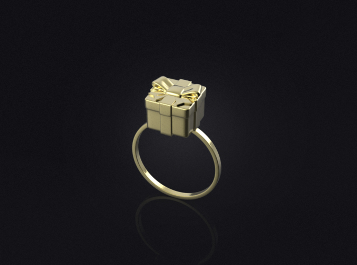 Christmas Box Ring 01 3d printed 3D visualization of the ring in polished brass.