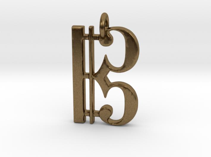 C Clef Pendant 1 Inch 3d printed