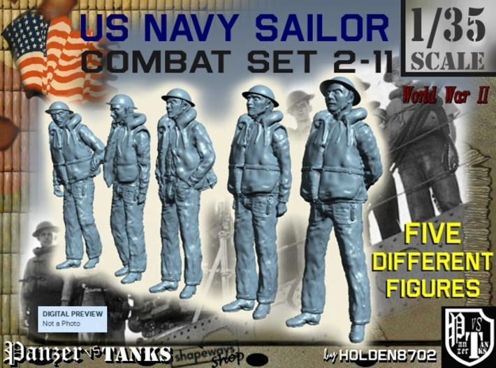 1-35 US Navy Sailors Combat SET 2-11 3d printed